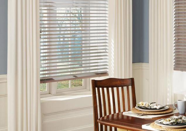 Custom Draperies with Parkland® Hardwood Wood Blinds